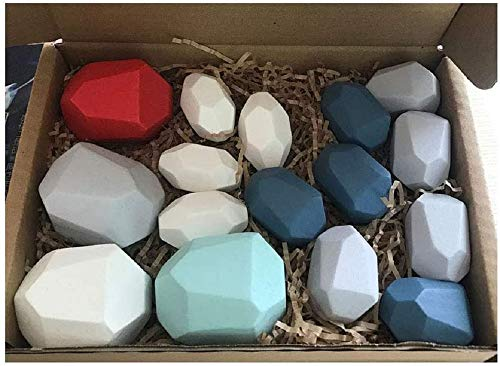 Wood Rock Set - Lightweight Natural Wooden Balancing Blocks Colored Wooden Stones Stacking Game Rock Blocks Educational Puzzle Toy For Kids (Colorful / 16pcs)