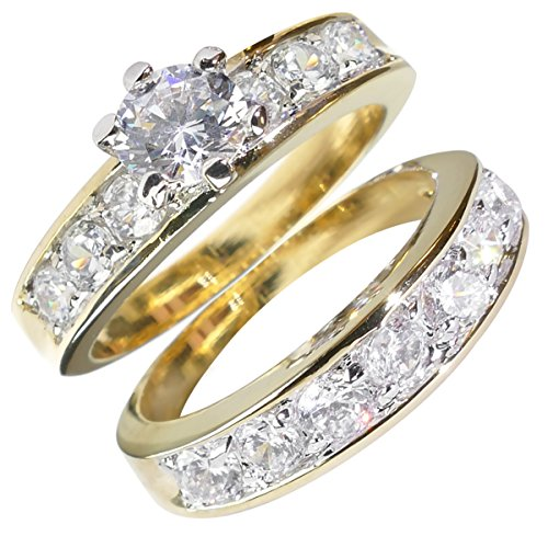 FREE ENGRAVING! Ah! Jewellery Stunning Ladies Simulated Diamonds Ring & Band Set. 6 Pronged 2ct Clear Centre Stone. Small Brilliant Rounds Side Setting.