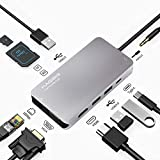 USB C Hub, Hagibis 10 in 1 Type-C Adapter with Ethernet Port,4K HDMI, VGA,3 USB 3.0 Ports, SD/TF Card Reader, Type-C PD Charging and AUX Portable for MacBook Pro/Air iPad Pro XPS Type C Laptops