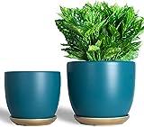 7 Inch Ceramic Plant Pots Modern Flower Planters,5.5 Inch Round Matte Finish Gardening Planters with...