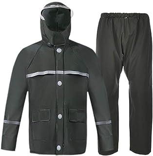 Qivor Waterproof clothing Raincoat Rain Pants Suit Thickened Raincoat, Portable Raincoat, Reusable (green/blue/yellow) Men...