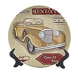 Cars, placa decorativa de cerámica de 25,4 cm, diseño de objetos originales con texto en inglés 'Vintage Car Rentals Commercial Rentals