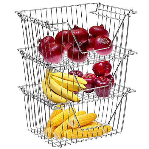 Homics Stackable Wire Baskets,Large(12.5 x 9.8inch) Steel Metal Wire Storage Baskets Organizer Bins with Handles for Household, Kitchen, Cabinets, Closets, Pantry and Shelf - 3 Pack