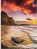 YLXQJIN Pintura por números para adultos y niños principiantes, lienzo digital de pintura al óleo, regalo de pintura por números para decoración del hogar, puesta de sol y playa, 40 × 50 cm