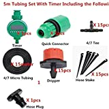 JERN Micro Drip Irrigation System Plant Self Automatic Watering Timer Garden Hose Kits