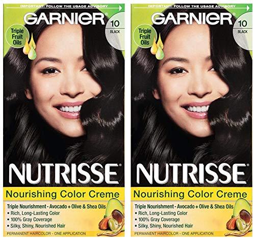 Garnier Nutrisse Nourishing Color Creme - Black 10 - Permanent Hair Color - One (1) Application Per Box - Pack of 2 Boxes