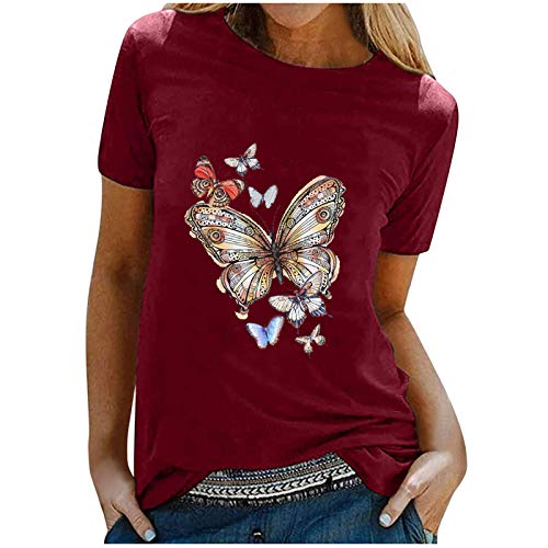 Y2K Butterfly Print T-Shirt Frauen Tops Casual Tiermotiv Pullover O-Ausschnitt Kurzarm Tunika Bluse Teenage Girls Streetwear(L,Wein)