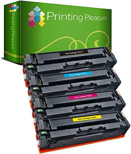 Printing Pleasure 203X 4 Toner Compatibili per HP LaserJet Pro M254 dw/nw MFP M280 nw MFP M281 fdn/fdw   CF540X 3200 pagine CF541X CF542X CF543X 2500 pagine