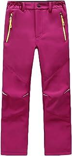 CAMLAKEE Pantalones Senderismo Invierno Ninos - Pantalones Softshell Niño con Forro Polar - Pantalones Trekking Impermeables
