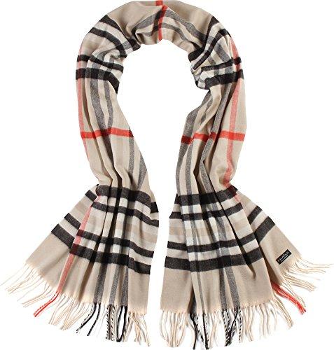 FRAAS Damen-Schal kariert aus Cashmink weicher als Kaschmir - extra warm für den Winter, Beige (Beige 170), One size