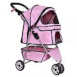 Dog Stroller Pet Stroller Cat Stroller for Medium Small Dogs Foldable Travel 3 Wheels Waterproof Puppy Stroller,Pink