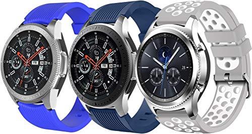 NeatCase Correa de Reloj Recambios Correa Relojes Caucho Compatible con TicWatch Pro/Pro 4G LTE / S2 / E2 / GTX - Silicona Correa Reloj con Hebilla (22mm, 3PCS B)
