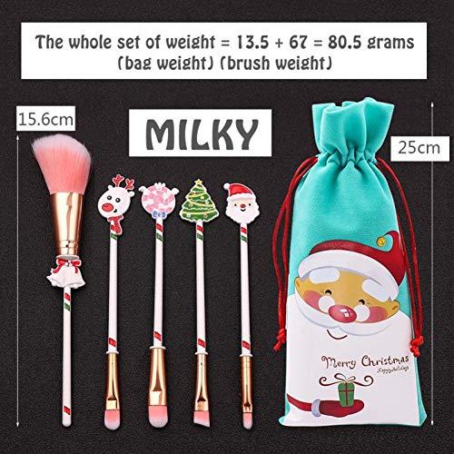 WWLZ 5 Teile/Satz Weihnachten Serie Make-Up Pinsel Lidschatten Augenbrauen Lippenpinsel Mit Tasche...