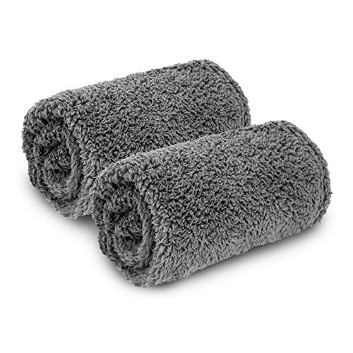 AIPERRO 2 Pack Premium Fluffy Fleece Dog Blanket, Soft and Warm Gray Pet Throw Blankets Bed Couch...