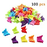 Butterfly Hair Clips, 100 Packs Assorted Color Beautiful Mini Butterfly Hair Clips Hair Accessories for Girls and WomenRandom ColorBy QMET