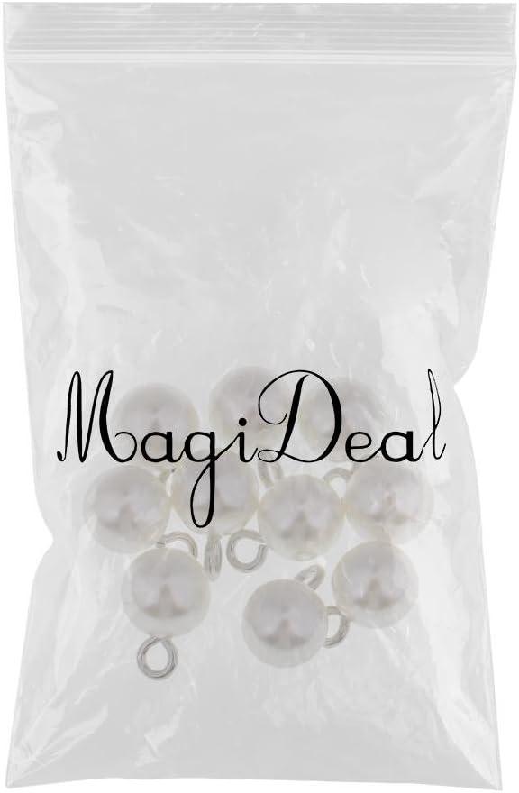 Argento 8 Millimetri MagiDeal 10 Pezzi Perle Perline Pendenti per Gioielli DIY Decorazione Vestiti 8mm-14mm