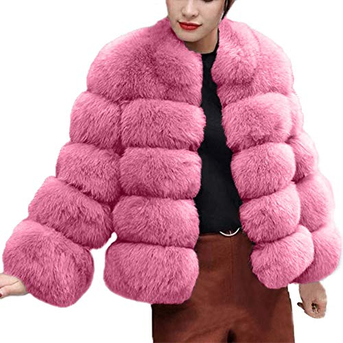 Damen Fleecejacke Kunstpelz Jacke Pelzmantel Plüsch Mantel Teddy-Fleece Wollmantel Winter Warm Fleecejacke Revers Faux Für Plüschjacke Parka Trenchcoat S Hellgrau