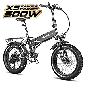 Eahora X5 Pro 20 Inch Folding Electric Bike Fat Tires 48V 500W Cruise Control Mountain E-Bike 10.4Ah Electric Bicycle with Electric Lock Ebike for Adults Power Regeneration 7 Speed, Black