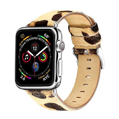 Compatible con Iwatch Band 38 mm 40 mm 42 mm 40 mm, Correa de Cuero de Grano de Leopardo para Apple Watch Series 4 Series 3 Series 2 Series 1