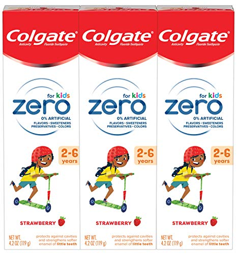 Colgate Zero Kids Toothpaste with Fluoride, Natural Strawberry for Ages 2-6 - 4.2 ounce, 3 Pack