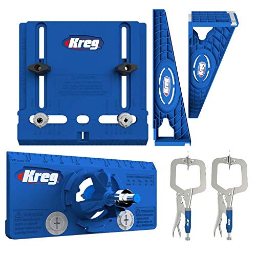 "Kreg Tool Company - Drawer Slide Jig with Cabinet Hardware Jig with Concealed Hinge Jig and Two 2"" Face Clamps"