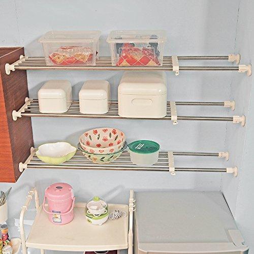 BAOYOUNI Tension Closet Shelf Heavy Duty Organizer Rack Stainless Steel Expandable Storage Shelves Rod Ivory 3976-6004 Inch
