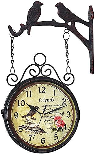 Reloj De Jardín Resistente A La Intemperie Jardín Al Aire Libre Relojes Retro Reloj De Pared Al Aire Libre Al Aire Libre Jardín Decorativo Reloj De Doble Cara Reloj Colgante Retro Arte De Hierro