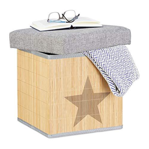 Relaxdays Faltbarer Sitzhocker, Stern-Motiv, quadratisch 36 cm, Bambus, mit Deckel, Stauraum, Sitzwürfel , grau/natur