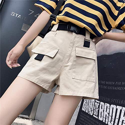 JKFXMN Sommer Damen Cargo Shorts High Taille Mini Shorts Mit Taschen, Um Schnalle Gürtel Lässige Damen Shorts, Beige, 2XL Zu Senden