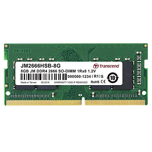 Transcend ノートPC用メモリ PC4-21300 DDR4-2666 8GB 260pin SO-DIMM 1.2V 1Rx8 1024Mx8 CL19 JM2666HSB-8G
