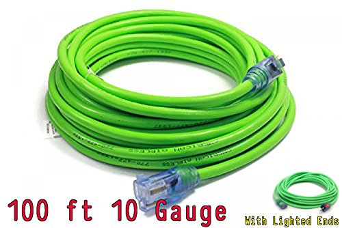 100 ft 10 Gauge Extension Cords 10 3 Contractor Grade 100' 10 Gauge Power Extension Cord 10/3 Plug,extension cord With Lighted Ends (100 ft 10 Gauge, green)