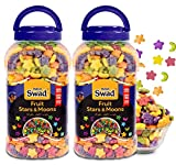 Swad Fruit Stars & Moons Breakfast Cereal Multigrain (Made with Oats Rice Corn Froot Loops Cereal) 2 Jars 650 g