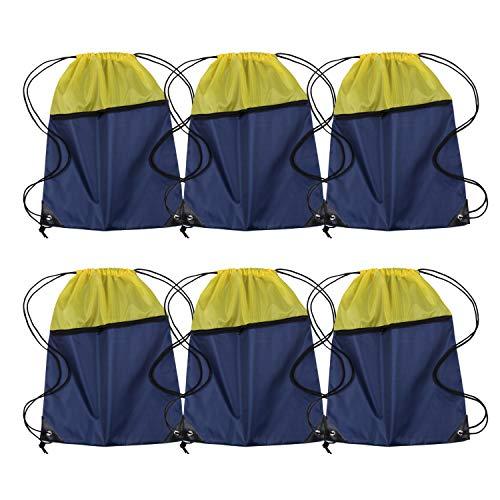 Sport-Turnbeutel mit Kordelzug, 6 Stück, für Herren und Damen, 210D-Polyester, erhältlich für Wärmepressen