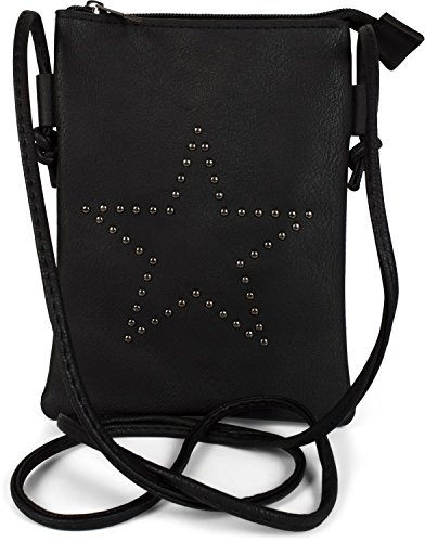 styleBREAKER Bolso de Mano minibolso de Bandolera con Remaches en Forma de Estrella, Bolso de Hombro, Bolso de Mano, Bolso, señora 02012235, Color:Negro