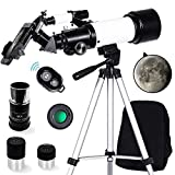 ToyerBee Telescope for Kids& Adult& Beginners-70mm Aperture 400mm Astronomical Refractor Telescope, Tripod& Finder Scope- Portable Travel Telescope with Smartphone Adapter and Wireless Remote