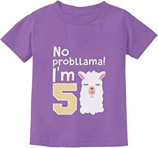 5 Year Old Girl Birthday Gift No Probllama Toddler Kids T-Shirt