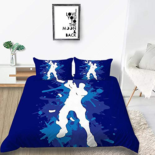 Prinbag Juego de Cama 3D con Estampado de Graffiti Azul de Jugador de Golf Funda nórdica con Funda de Almohada Textiles para el hogar de Moda 135x200cm