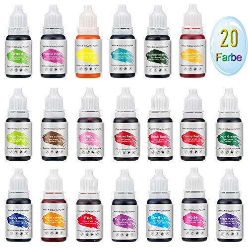 Zwanzer Seifenfarbe Set,200ml(20er×10ml) Hochkonzentrierter Farbstoff von Kunsthandwerk for Seife, Badebomben,Lippenbalsame,Schleim