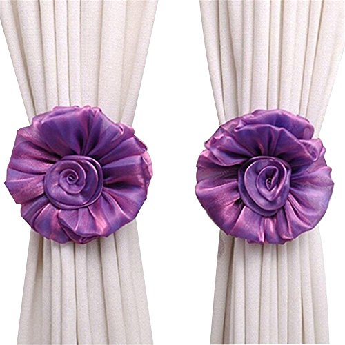Rose Flower Curtain Tieback, 6.7' Diameter, Christmas Decorations 1 Pair Floral Tie Back, Flower Holdback Voile & Net Curtain Panels, Nursery Home Decor, Wedding Birthday Party Decoration (Purple)