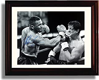 Framed Mike Tyson and Sylvester Stallone Autograph Replica Print - Iron Mike Versus Rocky Fantasy Print