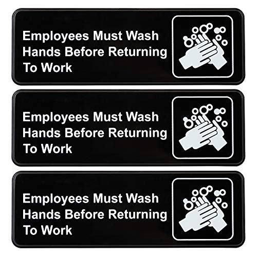Employees Must Wash Hands Before Returning to Work Sign: Easy to Mount Plastic Safety Informative Sign with Symbols Great for Business, 9'x3', Pack of 3