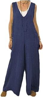 FSSE Women's V-Neck Wide Leg Palazzo Pants Cotton Overall Sleeveless Jumpsuit Romper