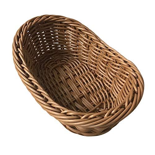 Leobtain - Cestas de mimbre curvadas ovaladas para servir de mimbre para pan, frutas, verduras, restaurantes y mesas