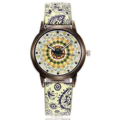 CXJC Reloj étnico étnico de Las señoras Vintage. Reloj de Cuarzo de Las señoras del Temperamento. Reloj de Regalo (Color : F)
