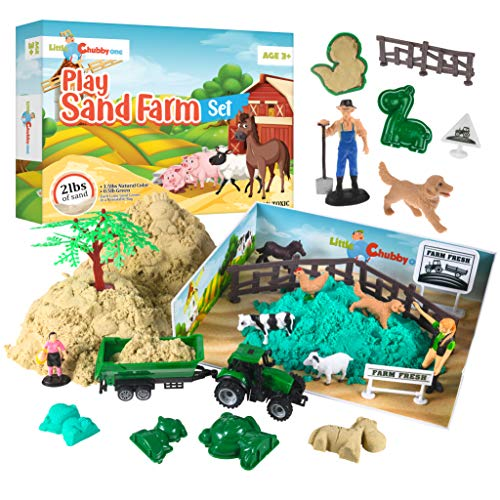 LITTLE CHUBBY ONE Kids Play Sand Farm Set - 2 Lbs Sand - Toy Magic Sand Set - 10 Molds - Mess Free Play for Girls and Boys - Ideas for Children Activities Age 2 3 4 5 6 7 8 9 10