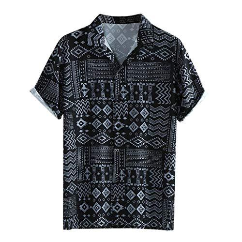 Heren Klassiek Shirt Korte Mouw Vrije tijd Sweatshirt Mode Hawaii Stijl Diamond Print Blouses Casual Button Tops T-Shirt Slim Fit Ademende Casual Sport Tee Katoen trainingspakken