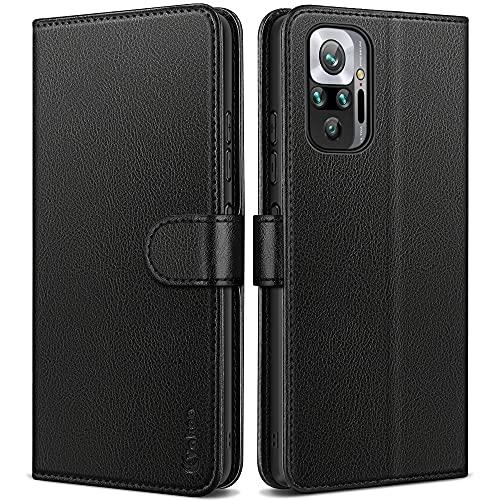 Vakoo Wallet Serie Handyhülle für Xiaomi Redmi Note 10 Pro und Kompatibel mit Xiaomi Redmi Note 10 Pro Max Hülle, mit RFID Schutz, Schwarz
