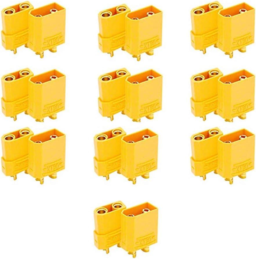 Jixista XT60 Conectores de batería Male Female Bullet Connectors Plugs Corriente Conector de la batería 20 Pairs Conector Macho Hembra Connector Power Battery Plugs for RC Lipo Battery Helicopter