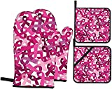 XiangYang Guantes para Horno Conciencia sobre el cáncer de Mama Cintas Rosas Manoplas para Horno y Soportes para ollas Juegos de 4 Almohadillas Calientes Resistentes Antideslizantes para Barbacoa