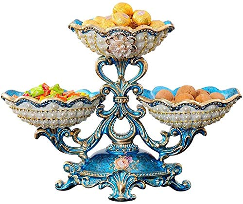 Frutero, cesta de frutas, mesa de centro de resina, plato de fruta, decoración creativa, sala de estar, plato de frutas secas de varias capas, 40 x 28 cm, azul